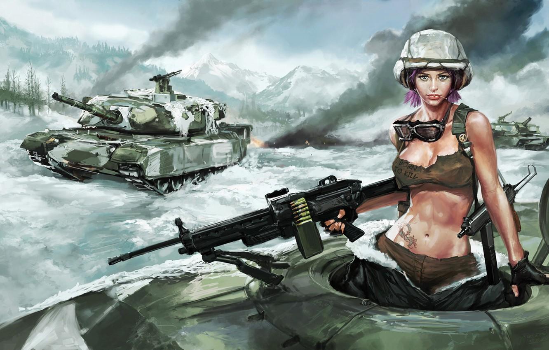 Фото обои девушка, снег, танк, пулемет