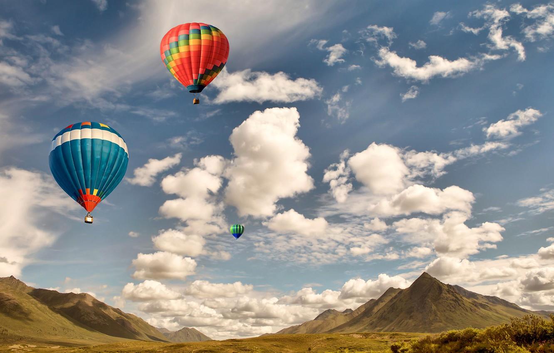 Обои Облака, Пейзаж, воздушный шар. Авиация foto 8