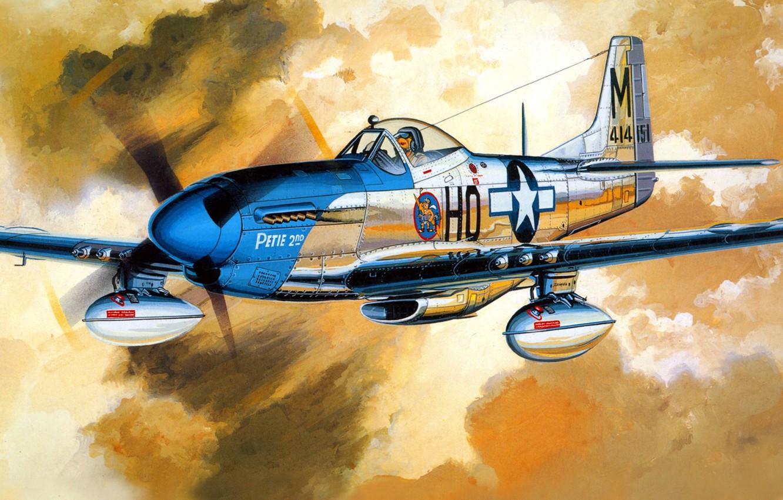Фото обои рисунок, Mustang, арт, North American, P-51D