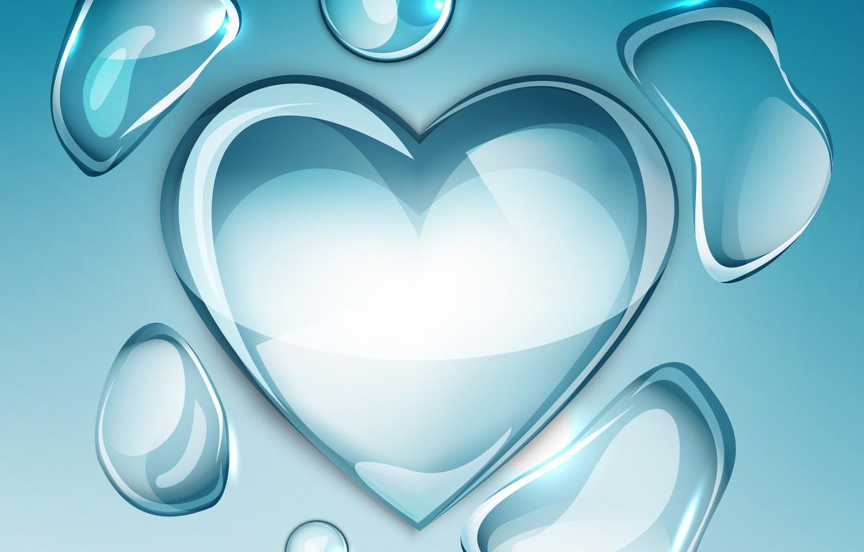 Фото обои фон, сердце, водяные капли