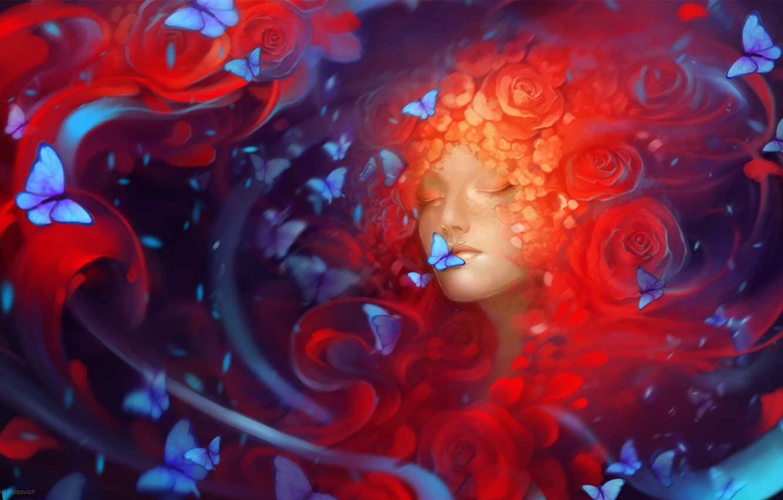 Фото обои девушка, бабочки, цветы, арт, Helen Rusovich