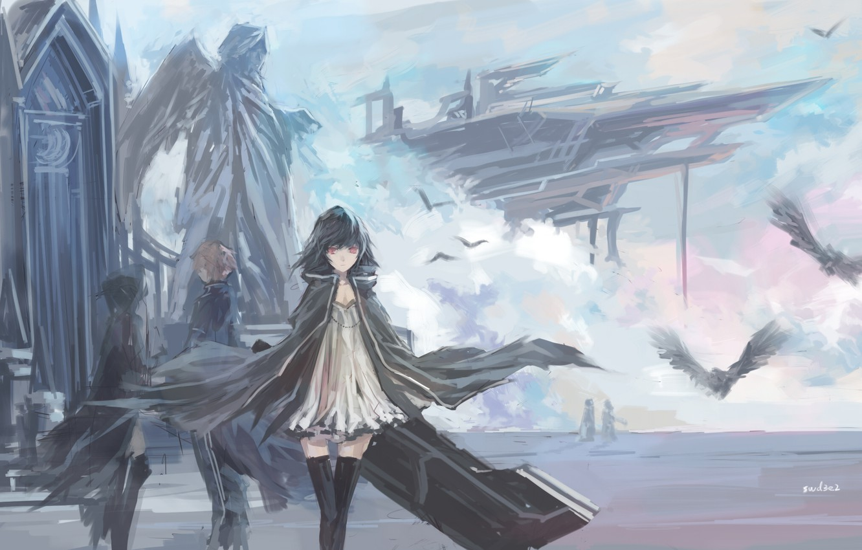 Фото обои небо, облака, птицы, девушки, крылья, корабли, ангел, аниме, арт, статуя, парень, swd3e2