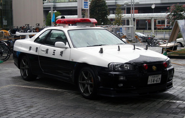 Фото обои Skyline, префектура Сайтама, японская полиция, GTR R34, BNR 34