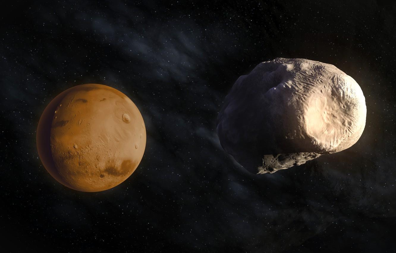 Фото обои космос, звезды, спутник, красота, Планета, Марс, Фобос