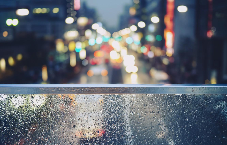 Фото обои стекло, капли, Tokyo, bokeh