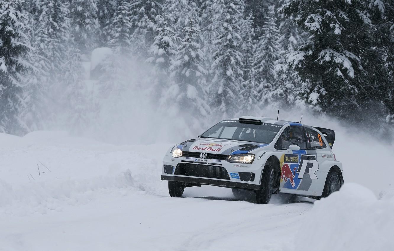 Фото обои Зима, Снег, Лес, Volkswagen, Занос, WRC, Rally, Ралли, Polo