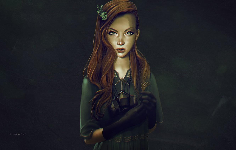 Фото обои взгляд, лицо, платье, арт, противогаз, рыжие волосы