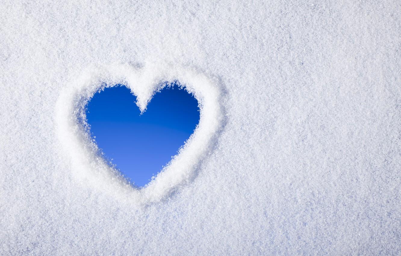 Фото обои зима, снег, сердечко, heart, winter, snow
