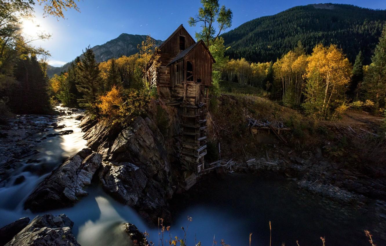 Фото обои осень, река, мельница