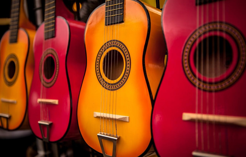 Фото обои цветные, гитары, музыкальный инструмент