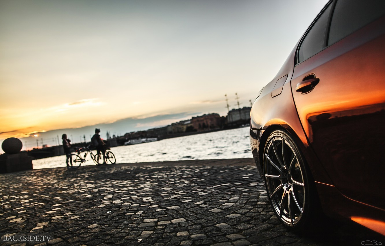 Фото обои машина, авто, закат, BMW, Тень, диск, auto, смотра, E60, Давидыч, Smotra, Эрик Давидыч