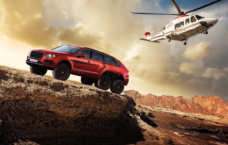 Фото обои фотошоп, Bentley, вертолёт, Bentayga, Bentley Bentayga