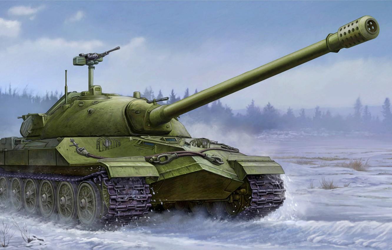 Фото обои war, art, painting, IS-7 tank