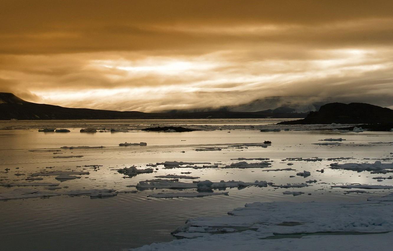 Фото обои зима, облака, Лед
