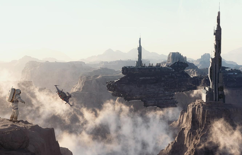 Фото обои горы, скалы, человек, планета, высота, корабли, скафандр, врата