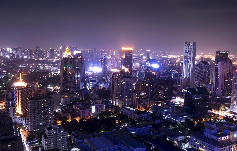 Фото обои ночь, огни, небоскребы, ночной город, мегаполис, вид сверху, ЮАР, Йоханнесбург, Johannesburg