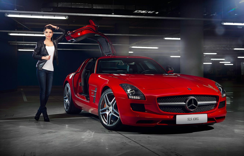 Фото обои Mercedes-Benz, Girl, Red, AMG, SLS, Beauty, Supercar, Door, Elmira Abdrazakova