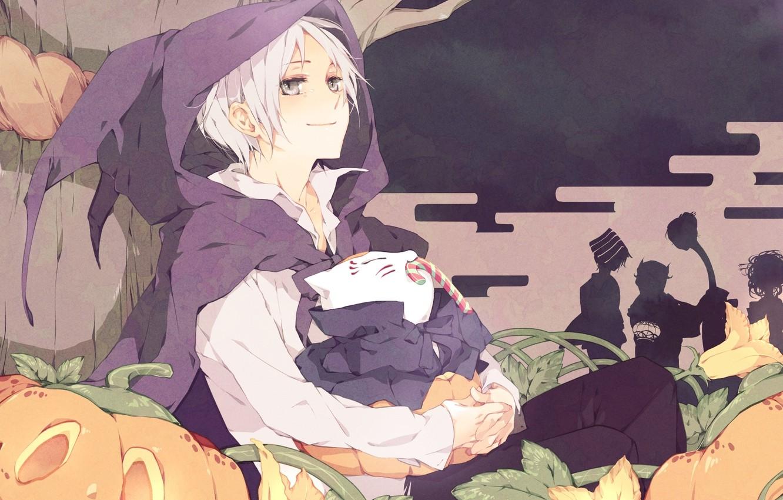 Фото обои дерево, аниме, конфеты, тыквы, Хэллоуин, цветки, Natsume, Natsume Yuujinchou, Няко-сенсей, ёкаи, Нацумэ, Тетрадь дружбы Нацумэ, …