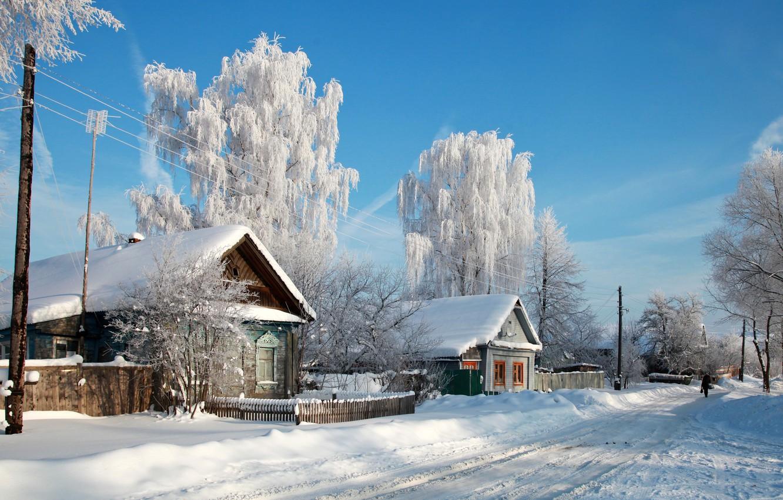 Фото обои снег, деревья, природа, город, фото, дома, деревня, Россия