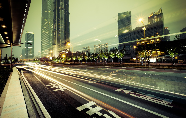 Фото обои дорога, city, город, огни, здания, небоскребы, мегаполис