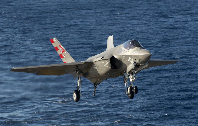 Фото обои море, истребитель, бомбардировщик, взлет, Lightning II, F-35C