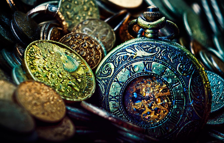 Фото обои время, часы, деньги, монеты
