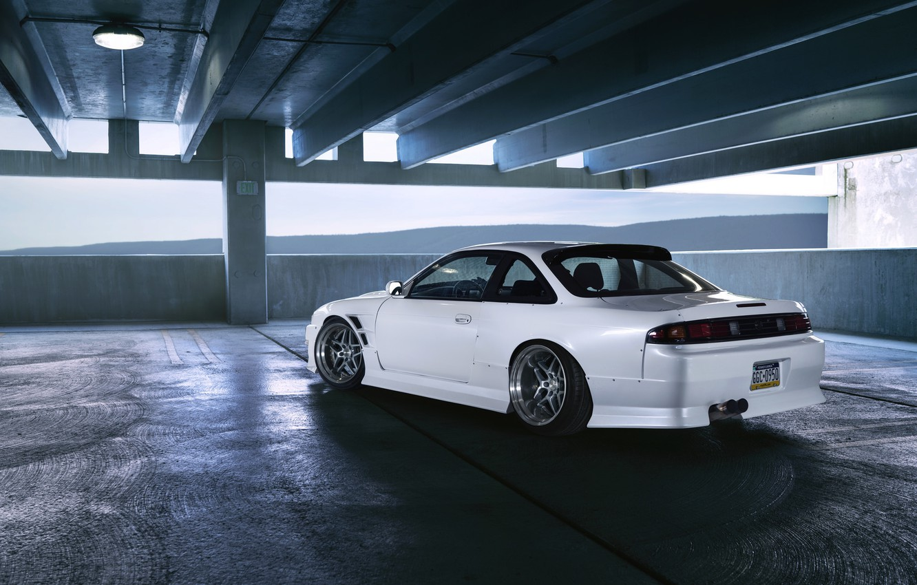 Фото обои car, Nissan, white, tuning, silvia, parking, S14