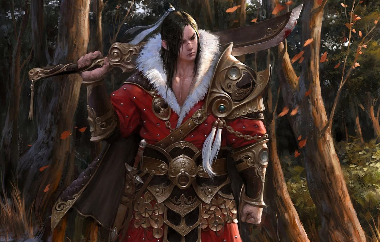 Фото обои лес, листья, деревья, оружие, меч, арт, мех, броня, парень, в красном, кисти, азиат, choi keun …