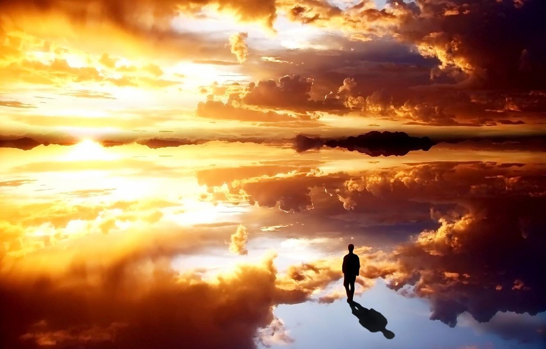 Фото обои небо, природа, человек
