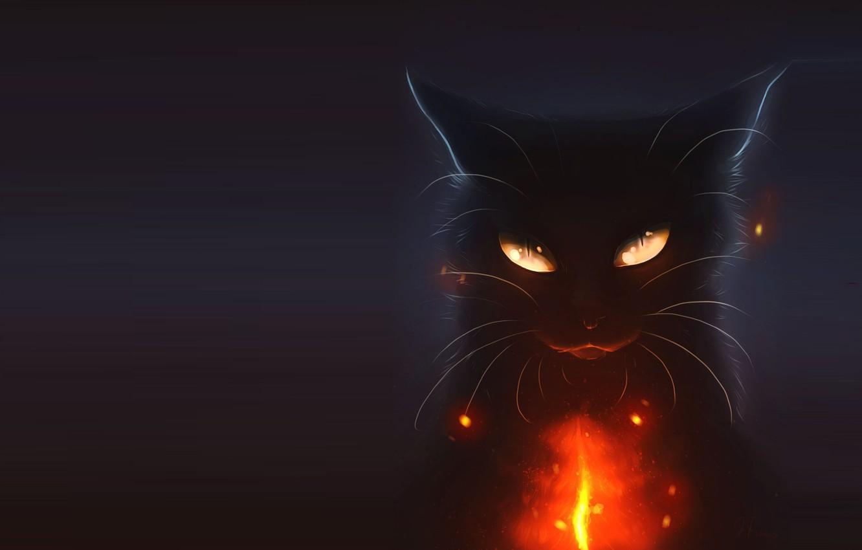 Фото обои кошка, ночь, праздник, арт, хэллоуин