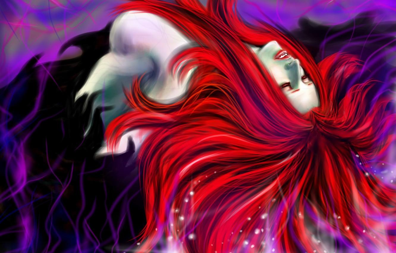Фото обои взгляд, арт, красные волосы, Devil May Cry, вампирша, Nevan