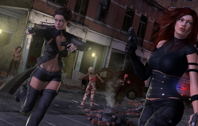 Фото обои взгляд, машины, рендеринг, оружие, девушки, кровь, пистолеты, окна, дома, лица, зомби, фонарь, выживание