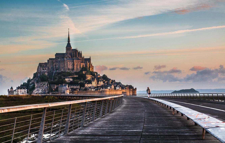Фото обои дорога, монастырь, Нормандия, Мон-Сен-Мишель