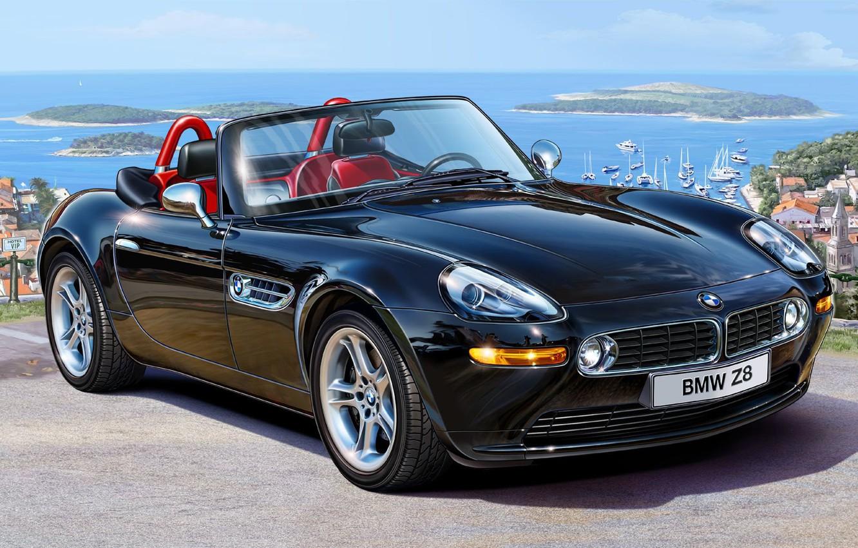 Фото обои черный, модель, BMW, арт, БМВ, родстер, кабриолет, автомобиль, 2000, автомобилей, спортивный, одним, коллекционеры, Германия., самых, …