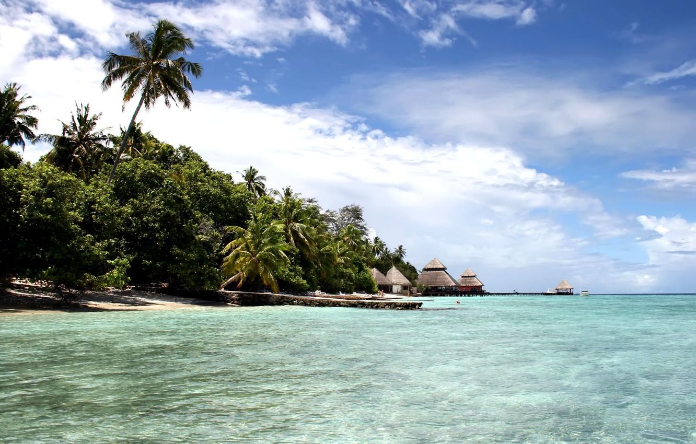 Фото обои пляж, небо, океан, остров, мальдивы