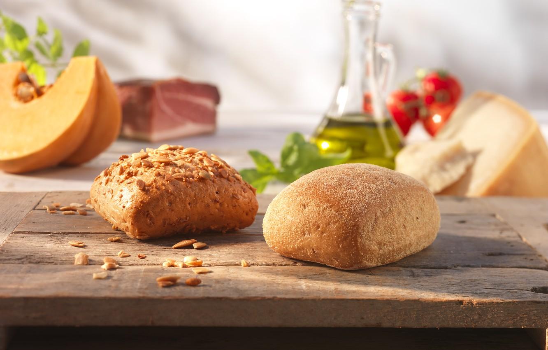 Фото обои еда, выпечка, кунжут, булочки, семена подсолнечника, итальянский хлеб, чиабатта