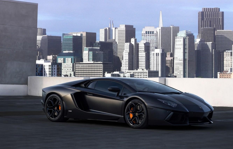 Фото обои крыша, город, Lamborghini, Сан-Франциско, небоскрёбы, San Francisco, Aventador, на крыше, Lamborghini Aventador