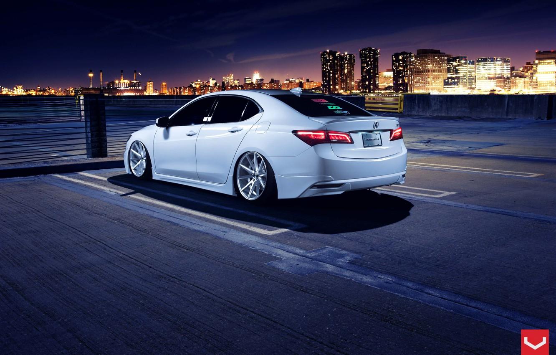 Фото обои Car, White, Tuning, Acura, Vossen, Wheels, Rear, TLX, Nigth