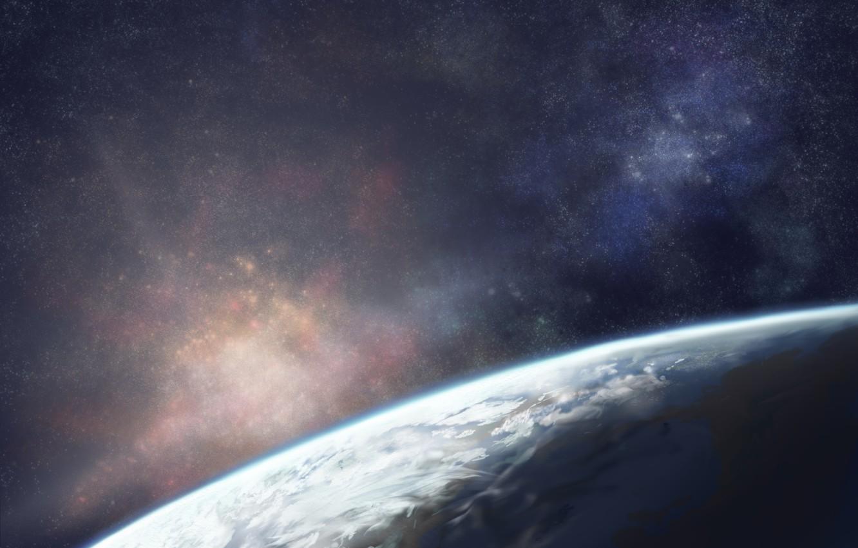 Фото обои небо, космос, звезды, земля, планета, арт, moruga