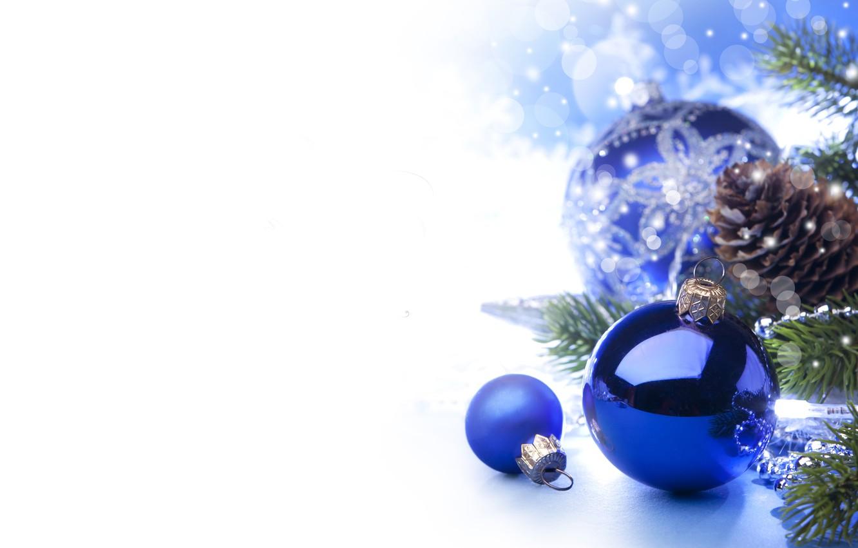 Фото обои звезды, шарики, ветки, шары, игрушки, елка, Новый Год, Рождество, белые, Christmas, шишки, синие, синий фон, …