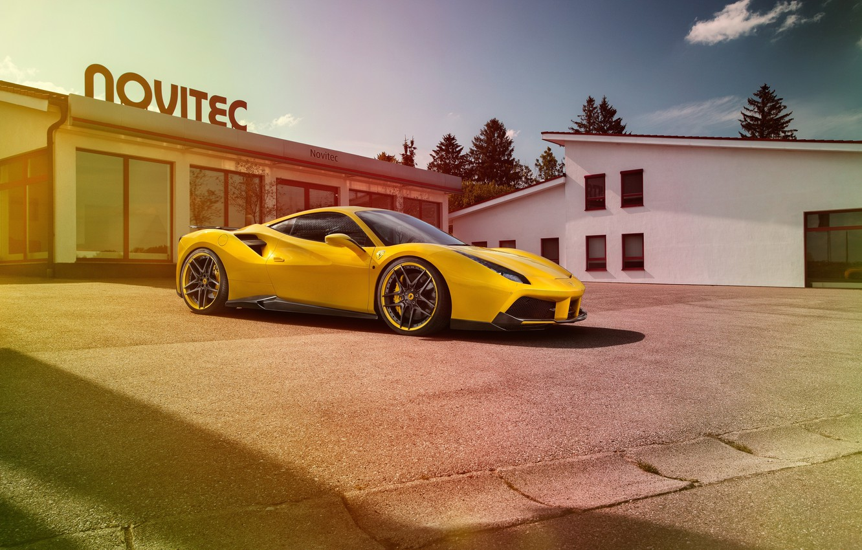 Фото обои car, Ferrari, феррари, yellow, tuning, Rosso, Novitec, 488 GTB, новитек
