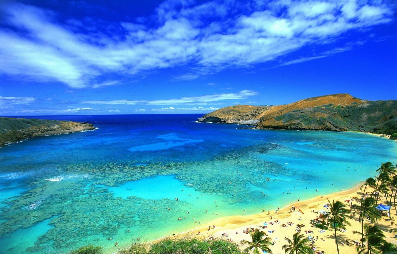 Фото обои море, небо, плаж, горы