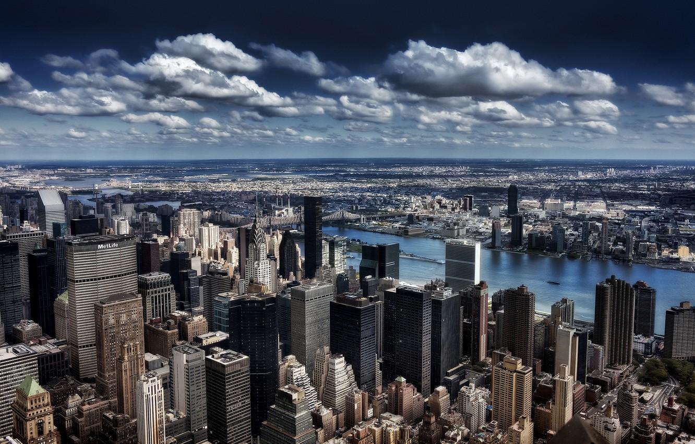 Фото обои облака, здание, Нью-Йорк, небоскребы, горизонт, мегаполис, New York