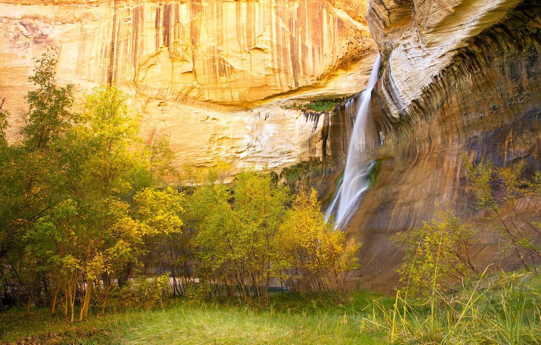 Фото обои осень, деревья, горы, скалы, водопад, поток