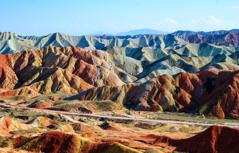 Фото обои пейзаж, горы, природа, Китай, Zhangye, Danxia, Данься, геопарк