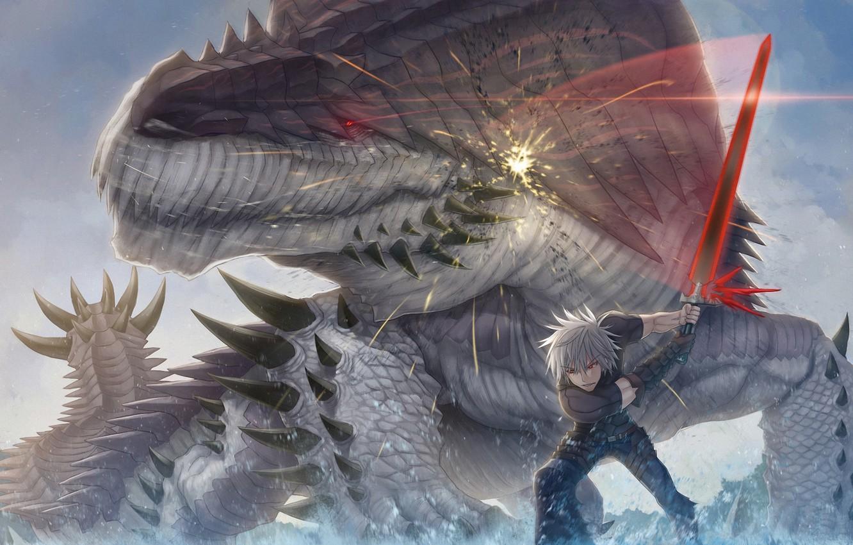 Фото обои оружие, монстр, меч, арт, ящер, битва, парень