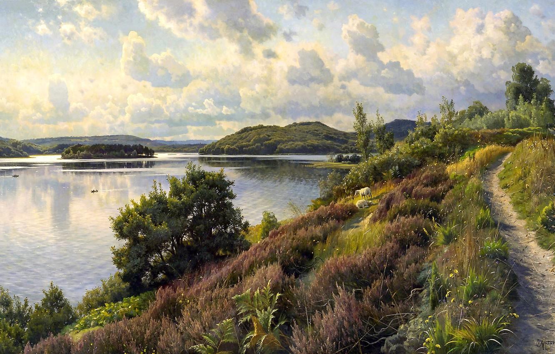 Фото обои небо, деревья, пейзаж, тучи, река, холмы, овцы, картина, тропинка, Peder Monsted