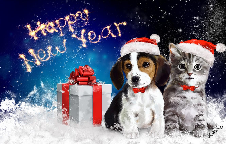 Фото обои животные, снег, подарок, новый год, котик, арт, бант, собачка, happy new year, упаковка