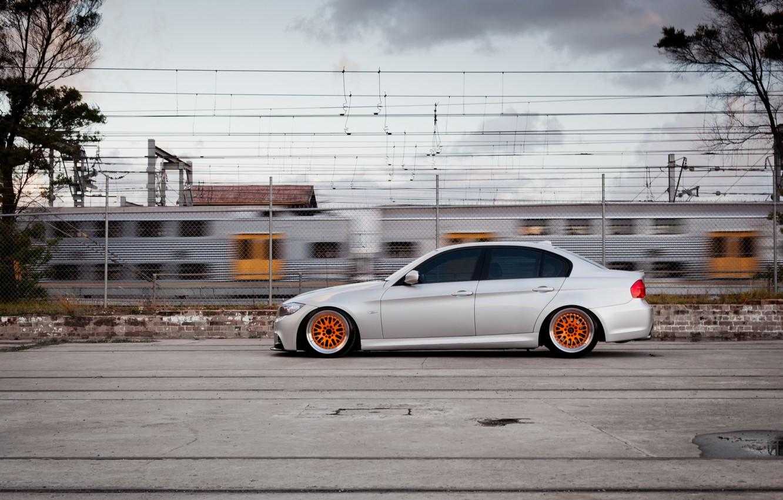 Фото обои тюнинг, бмв, BMW, профиль, серая, tuning, E90, 3 серия, 320d