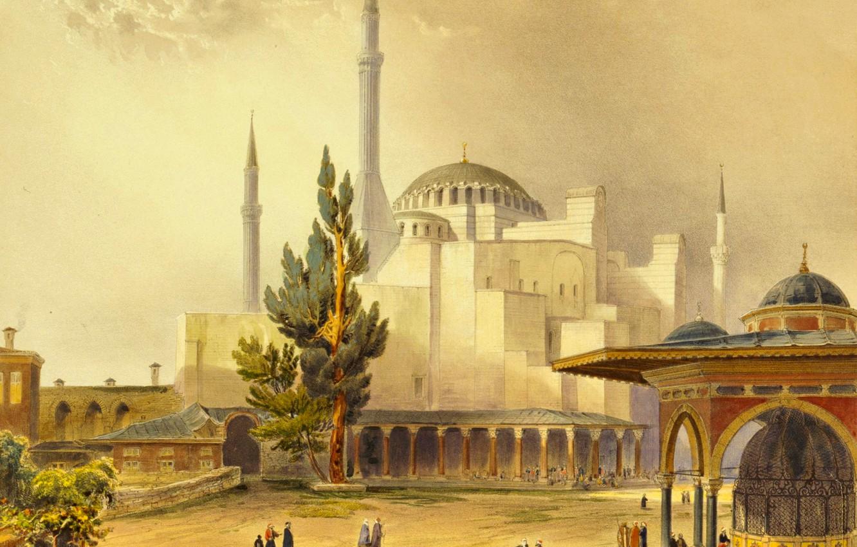 Константинополь открытка, георгины